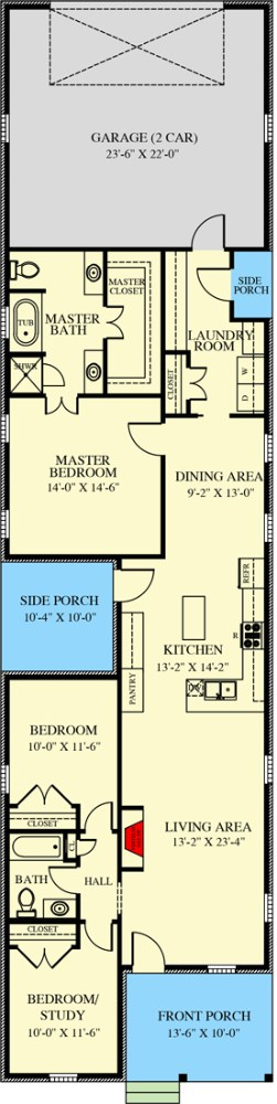 Main level floor plan of a single-story 3-bedroom traditional cottage with front and side porches, living room, kitchen, dining area, and utility room leading to the rear garage.