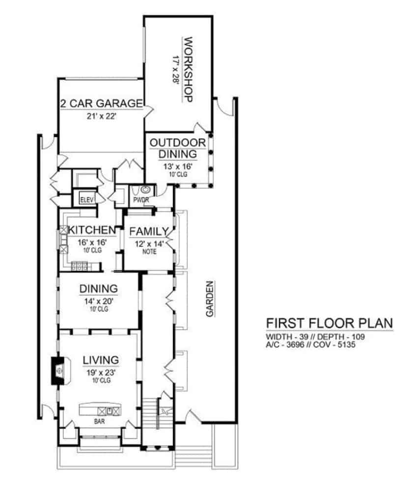 Main level floor plan of a two-story 3-bedroom Mediterranean home with living room, formal dining room, kitchen, family room, and outdoor dining leading to the workshop.