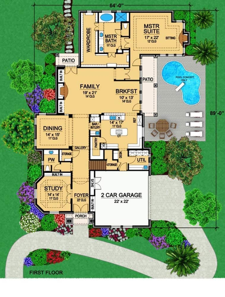 Main level floor plan of a two-story 3-bedroom Mediterranean home with foyer, formal dining room, kitchen, family room, study, primary suite, and utility room situated just off the garage.