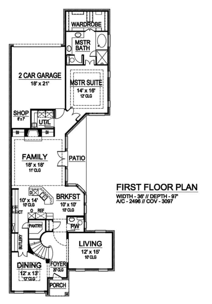 Main level floor plan of a two-story 3-bedroom traditional home with foyer, formal dining room, living room, kitchen, breakfast nook, family room, primary suite, utility, and double garage with workshop.