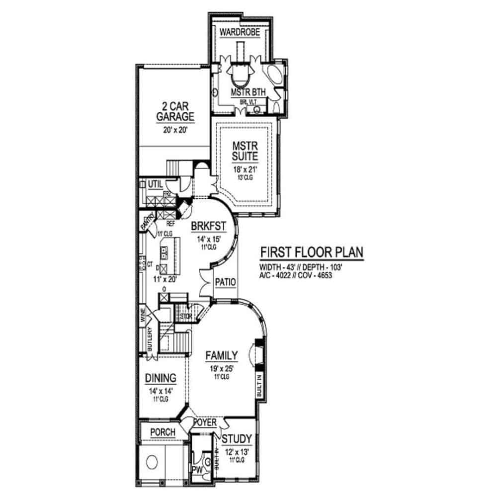 Main level floor plan of a two-story 3-bedroom traditional style home with foyer, study, family room, formal dining room, kitchen, breakfast nook, primary suite, utility room, and rear garage.