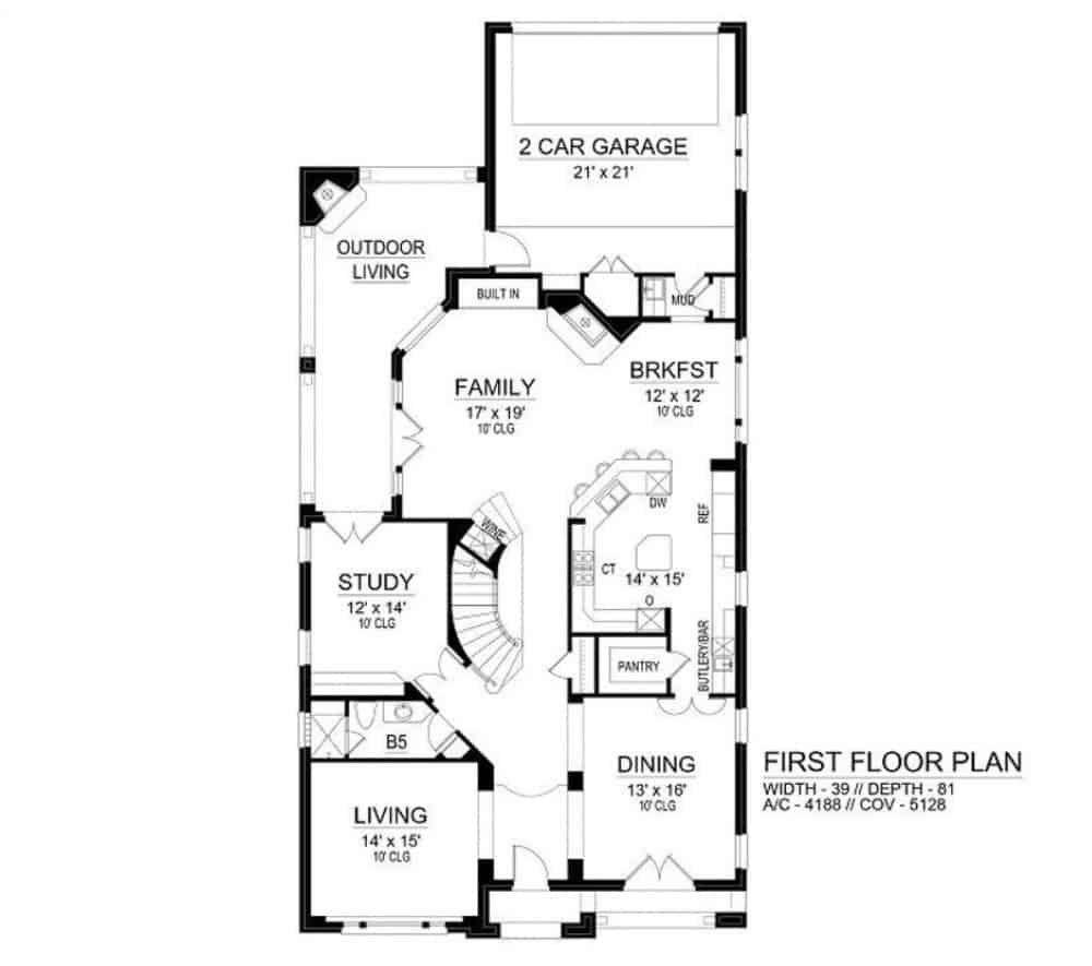 Main level floor plan of a two-story 4-bedroom Neoclassical home with formal dining room, living room, study, family room, kitchen, breakfast nook, and mudroom leading to the rear garage.