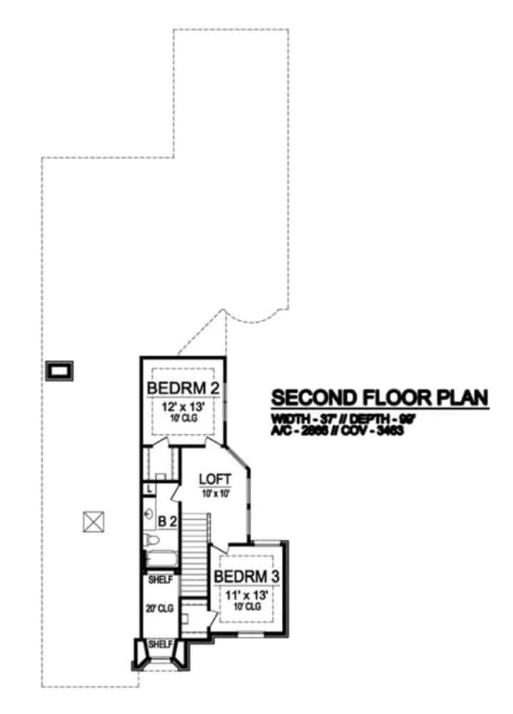 Second level floor plan with a loft and two bedrooms sharing a full bath.