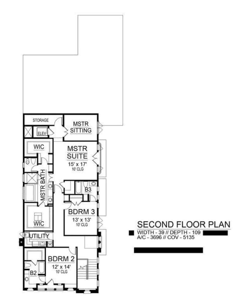 Second level floor plan with utility room and three bedrooms including the primary suite.