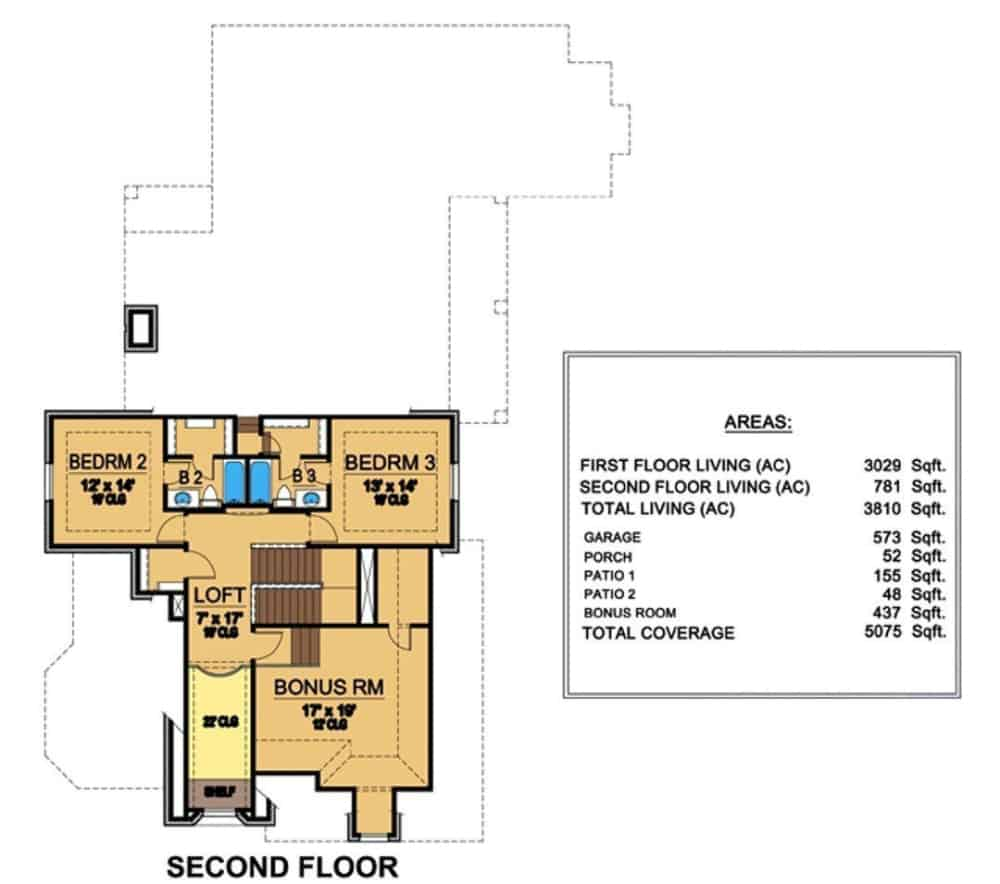 Second level floor plan with two bedroom suites, a loft, and a bonus room.