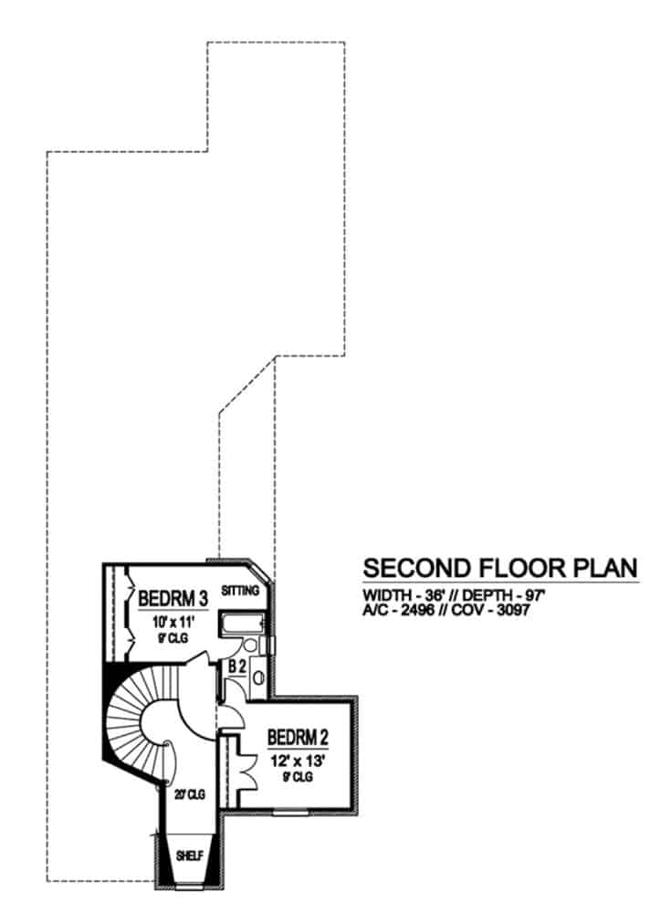 Second level floor plan with two bedrooms sharing a full bath.