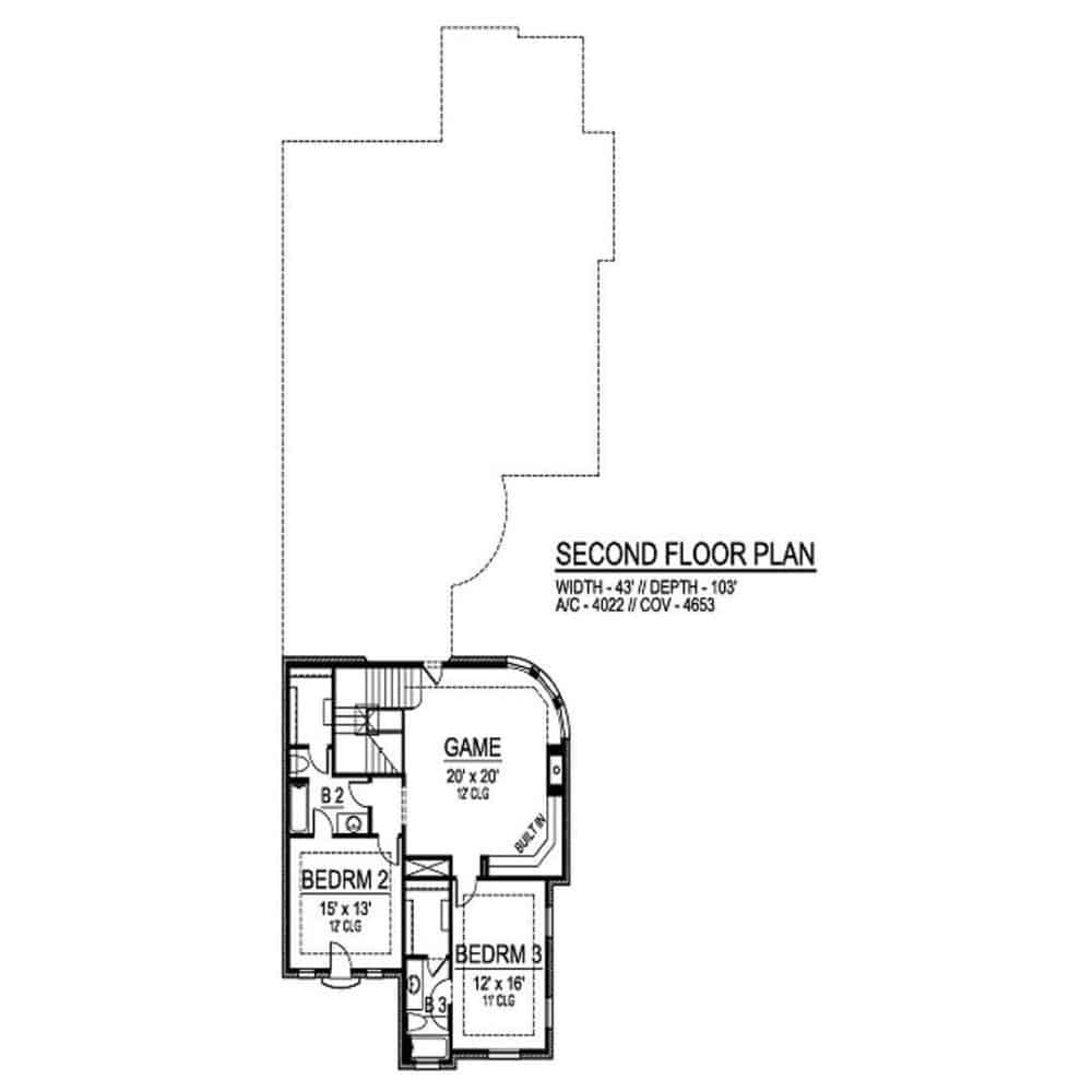 Second level floor plan with a game room and two bedrooms sharing a full bath.