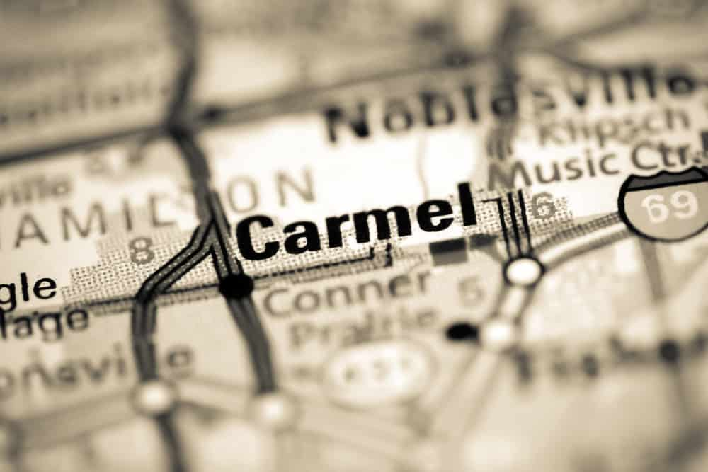 This is a close look at Carmel, Indiana on a geography map.