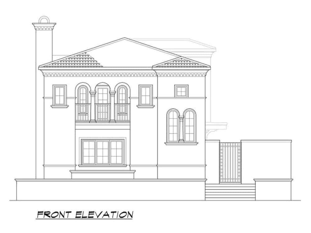 Front elevation sketch of the two-story 3-bedroom Mediterranean home.