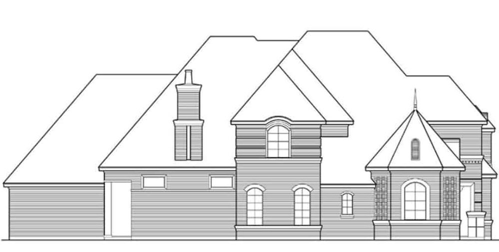 Right elevation sketch of the two-story 3-bedroom Mediterranean home.