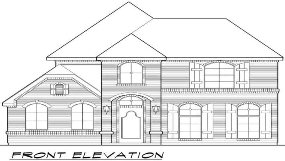 Front elevation sketch of the two-story 3-bedroom traditional home.