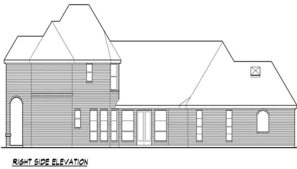 Right elevation sketch of the two-story 3-bedroom traditional home.