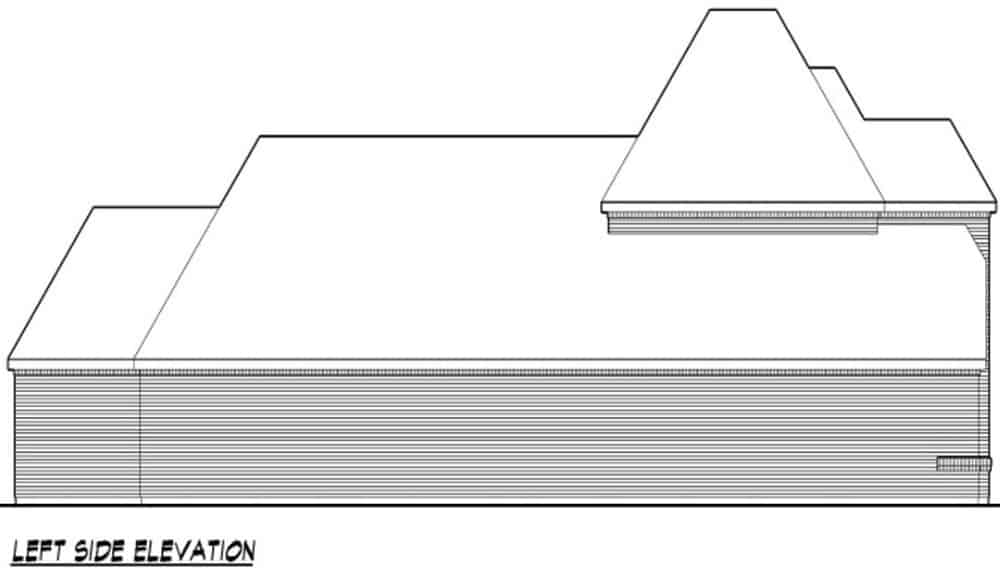 Left elevation sketch of the two-story 3-bedroom traditional home.