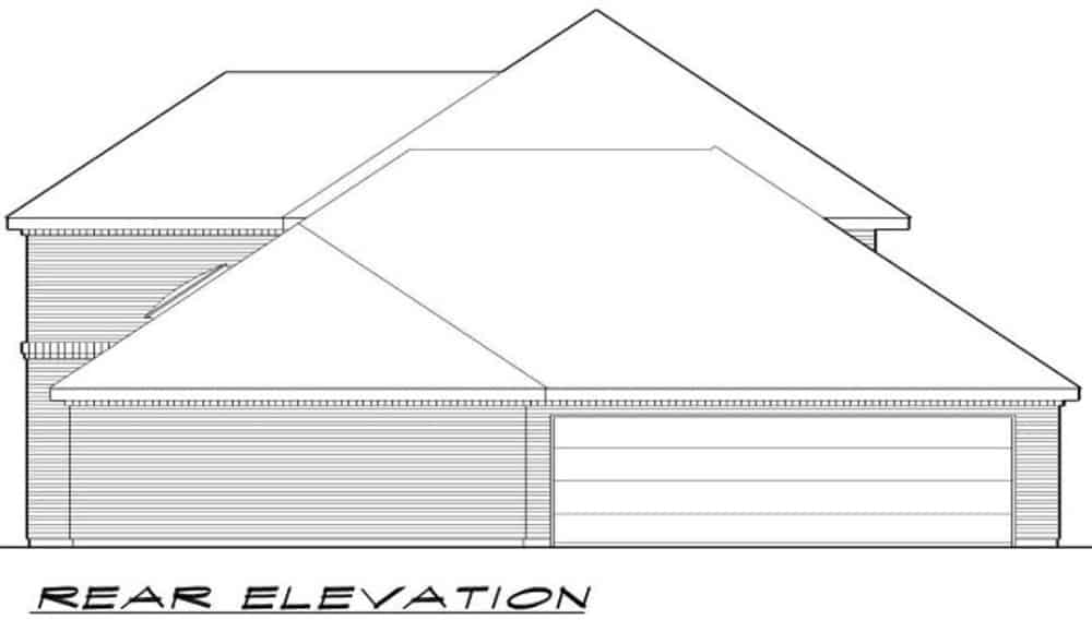 Rear elevation sketch of the two-story 3-bedroom traditional home