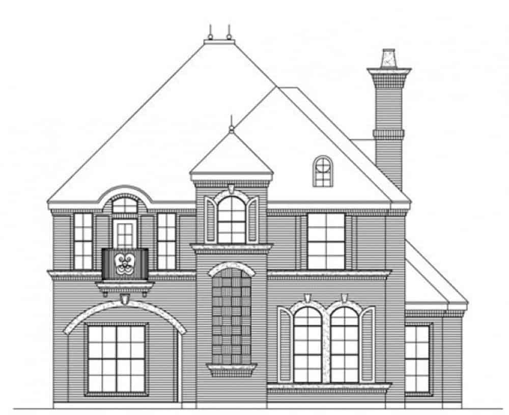 Front elevation sketch of the two-story 3-bedroom traditional style home.