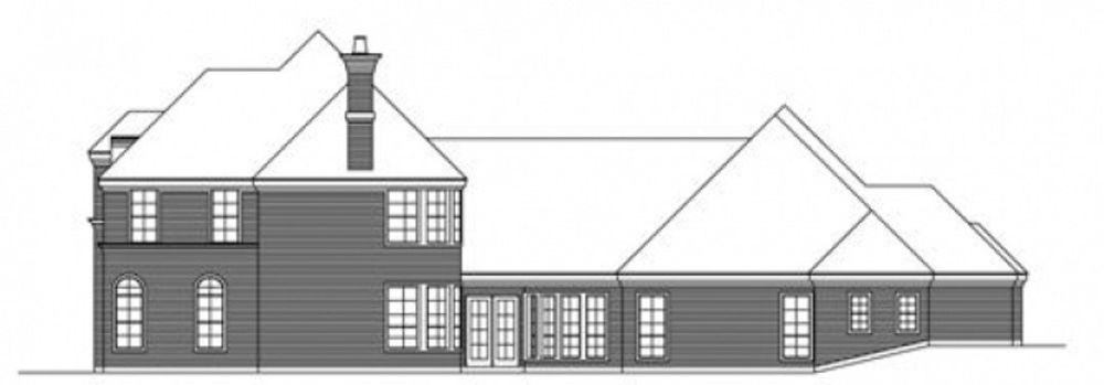 Right elevation sketch of the two-story 3-bedroom traditional style home.