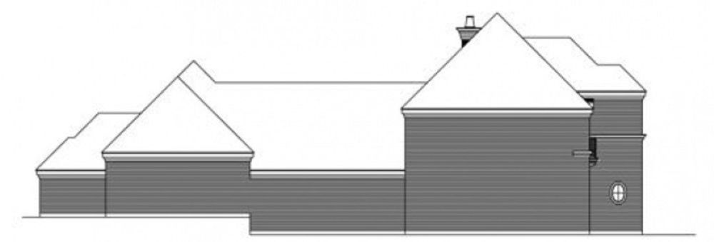 Left elevation sketch of the two-story 3-bedroom traditional style home.