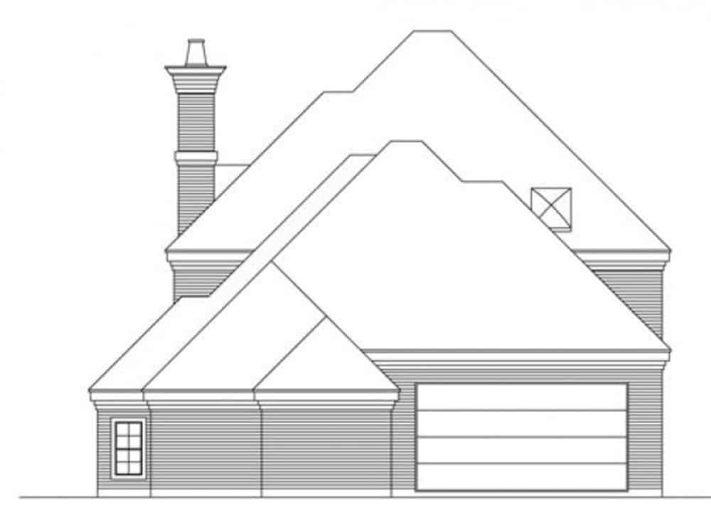 Rear elevation sketch of the two-story 3-bedroom traditional style home.
