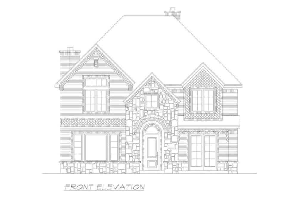 Front elevation sketch of the two-story 4-bedroom Neoclassical home.
