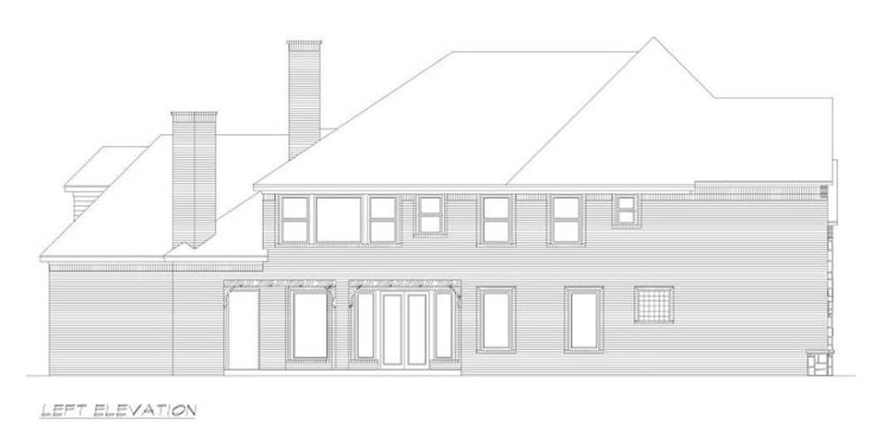 Left elevation sketch of the two-story 4-bedroom Neoclassical home.