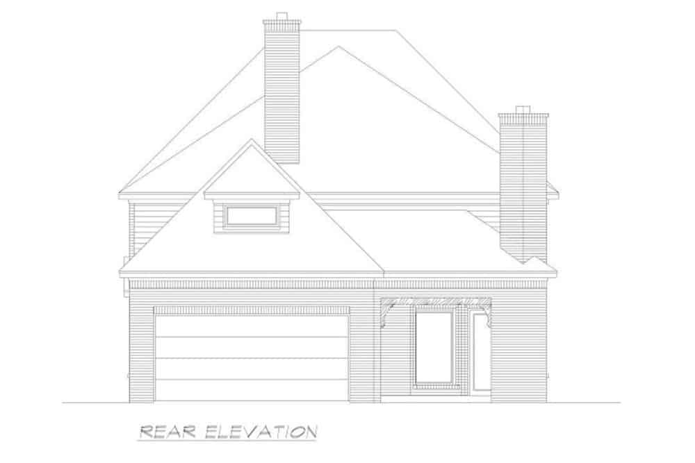 Rear elevation sketch of the two-story 4-bedroom Neoclassical home.