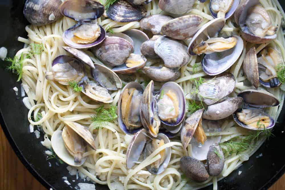This is a close look at linguini with clams.