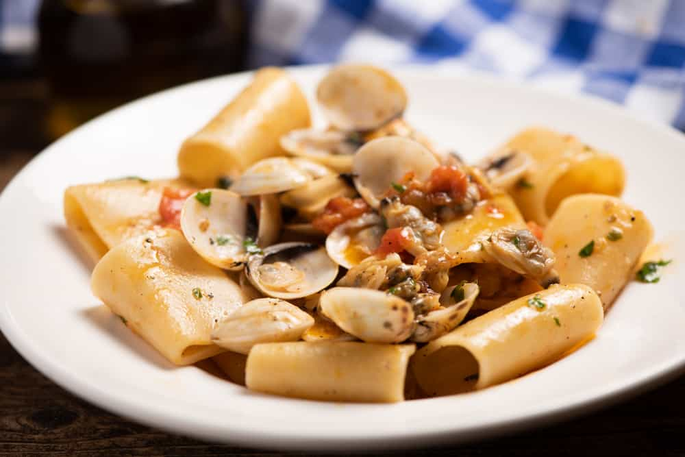 This is a close look at a plate of Paccheri and Clams with sauce.