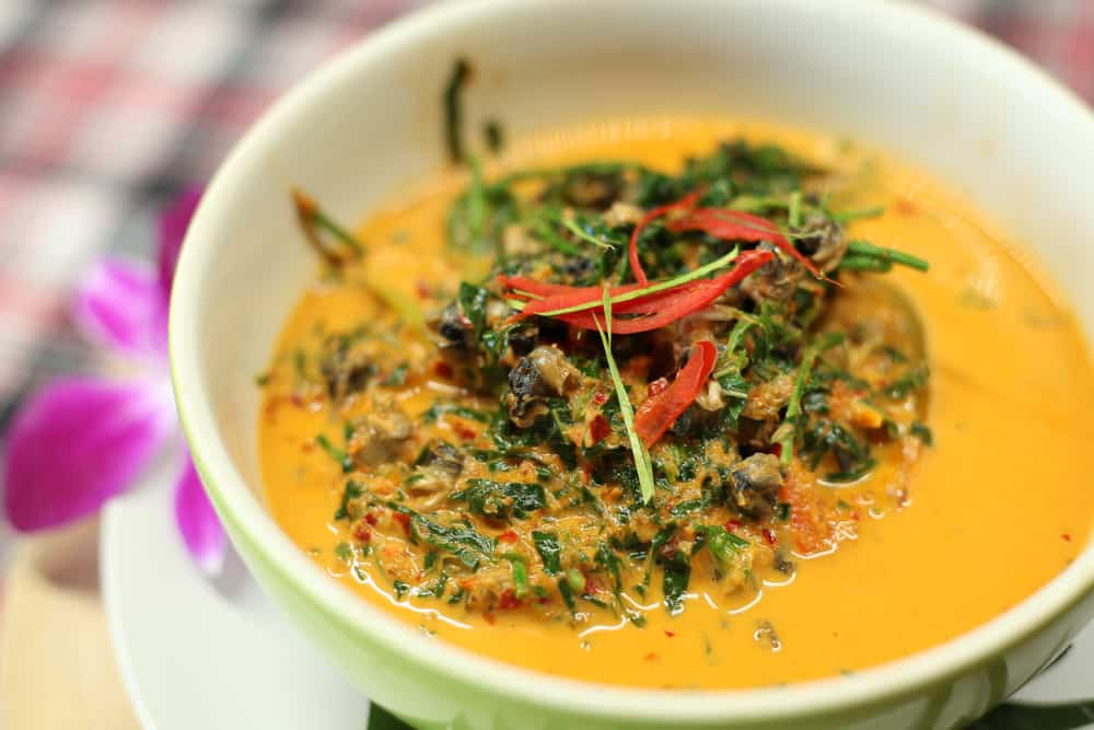 This is a close look at the clam coconut curry with spices.