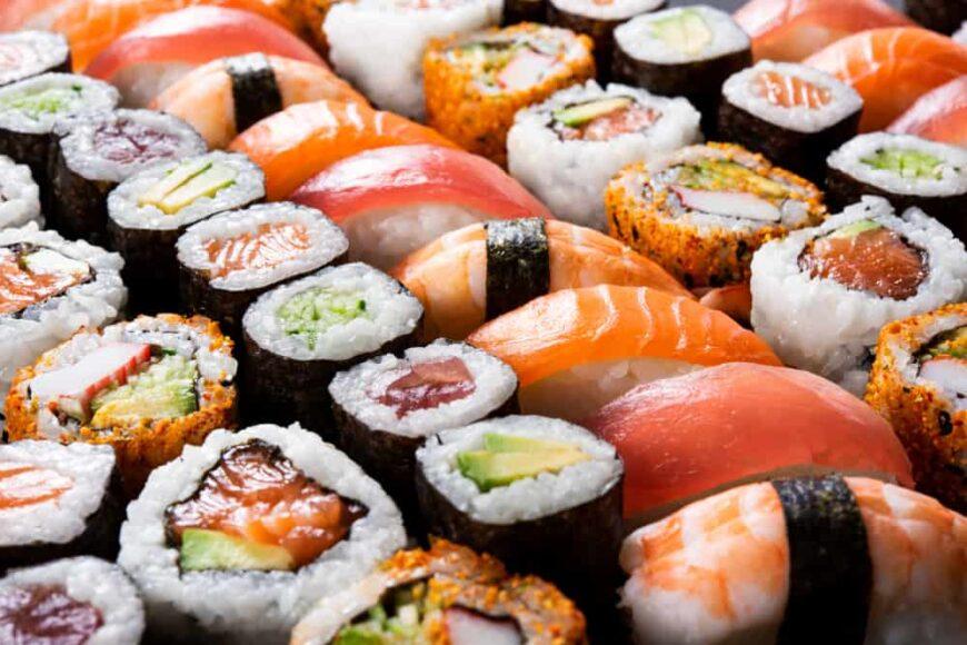 Various types of sushi on display.
