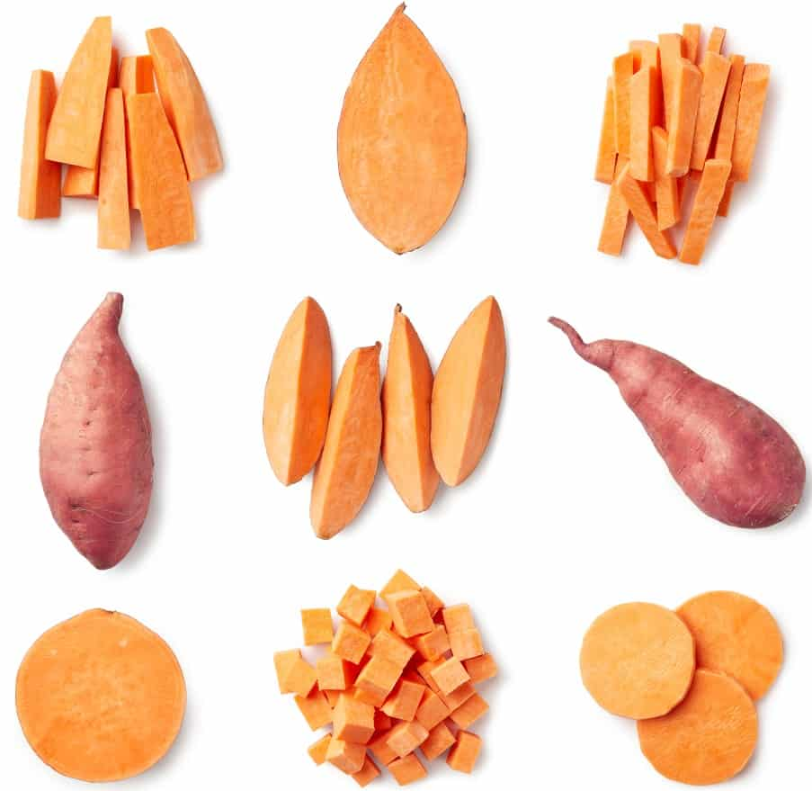This is a close look at various sweet potato slices.
