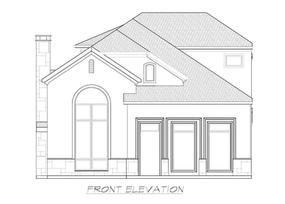 Front elevation sketch of the 3-bedroom two-story Southwestern home.
