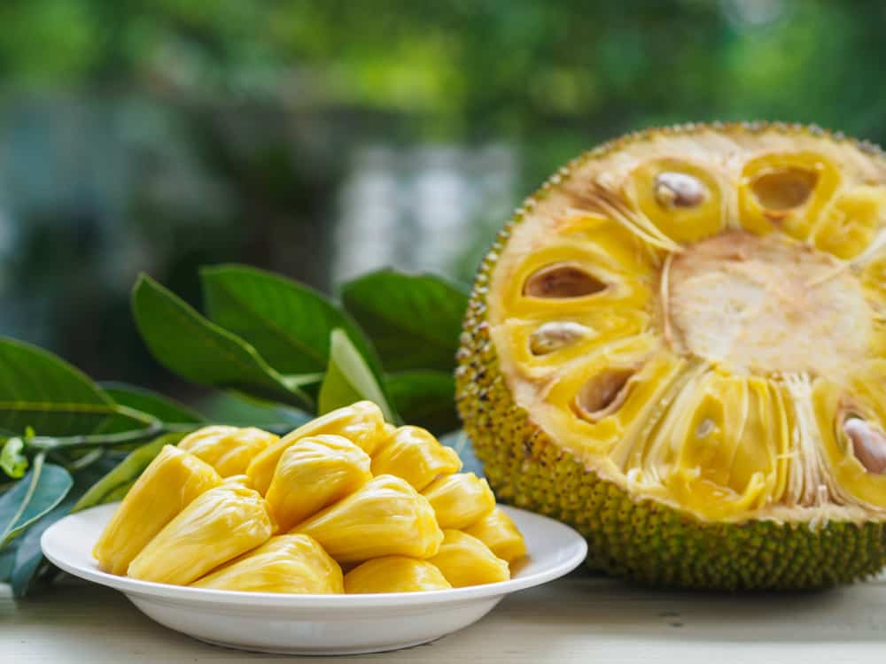 This is a ripe piece of jackfruit sliced and plated.