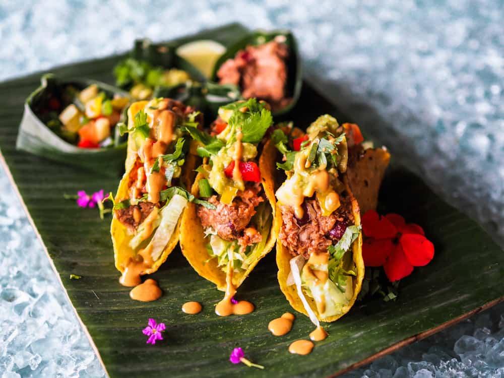 These are healthy vegan jackfruit tacos.