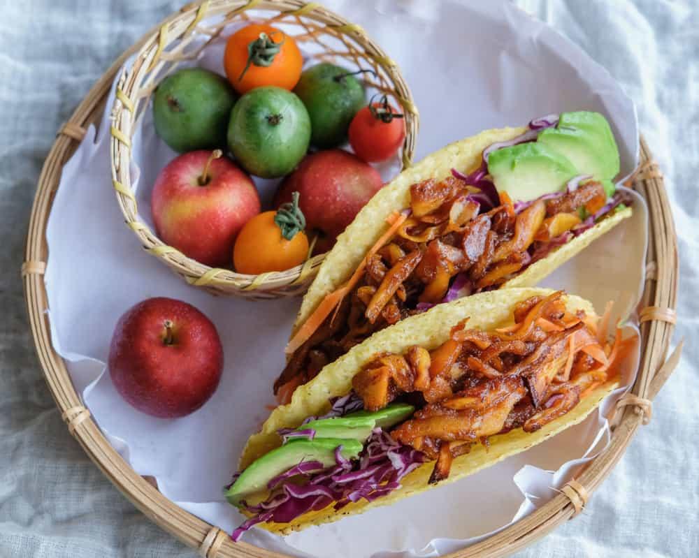 A serving of vegetarian pulled jackfruit tacos.