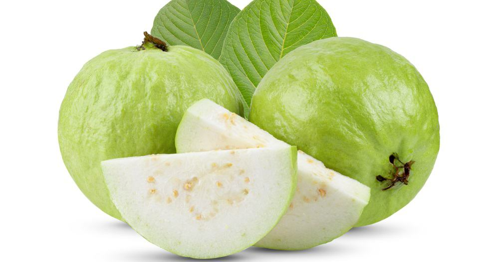A close look at pieces of tropical white guava with a few slices.