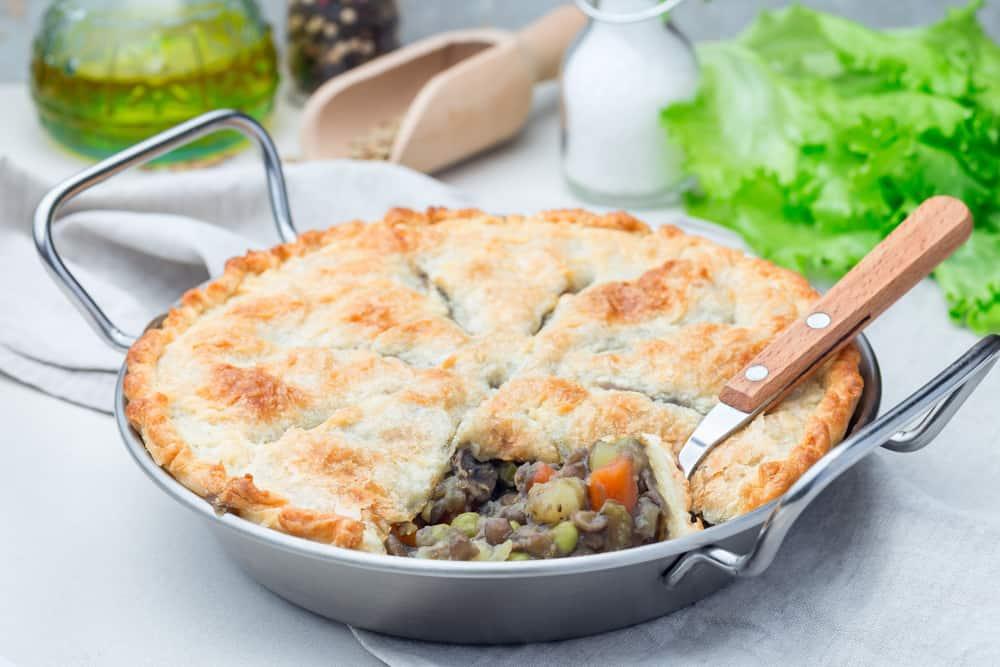 A close look at a vegetarian pot pie.