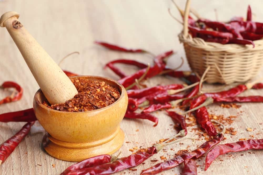 A look at a bunch of dried pepper and cayenne pepper flakes.