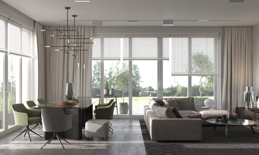 Living room with blinds