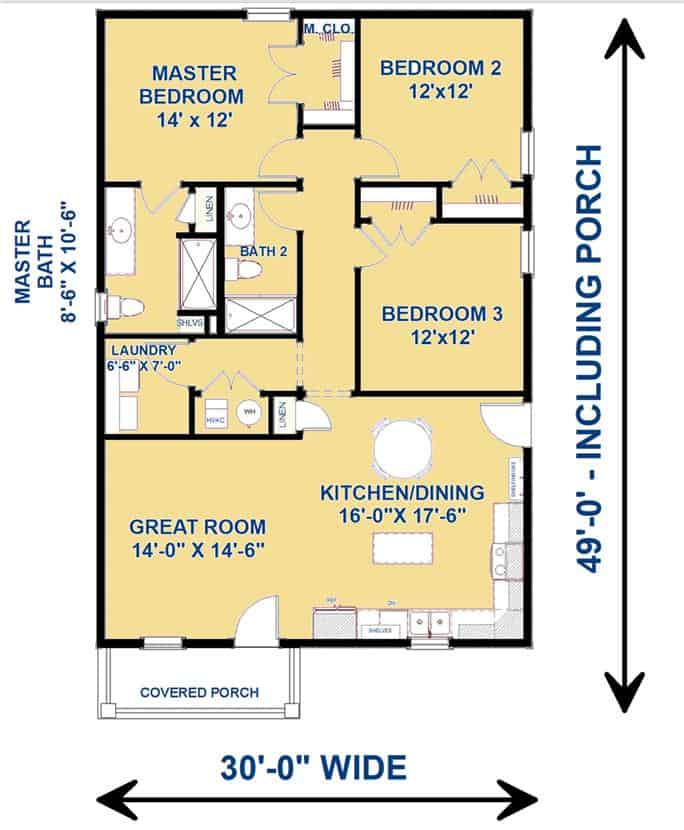 Main level floor plan of a 3-bedroom single-story country-style ranch with great room, combined dining and kitchen, laundry room, primary suite, and two family bedrooms sharing a hall bath.