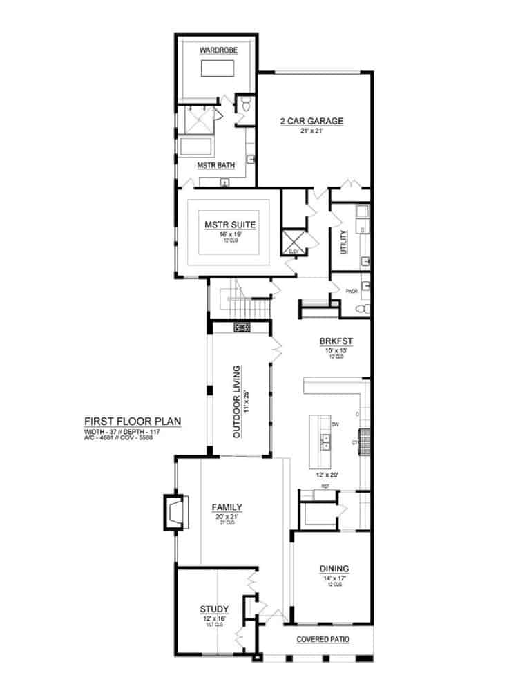 Main level floor plan of a 3-bedroom two-story Southwestern home with family room, formal dining room, kitchen, breakfast nook, study, utility room, primary suite, and double garage.