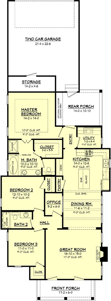 Main level floor plan of a single-story cottage style 3-bedroom home with front and rear porches, great room, kitchen, dining area, utility, home office, and rear garage.
