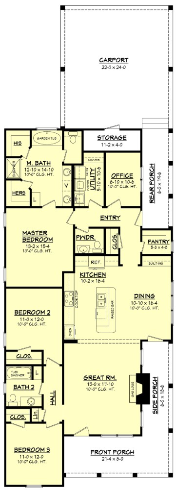 Main level floor plan of a single-story cottage-style 3-bedroom home with great room, dining area, kitchen, office, utility room, and a wraparound porch.