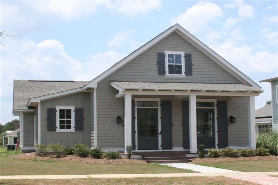 Single-Story Cottage Style 3-Bedroom Home for a Narrow Lot with Rear Garage