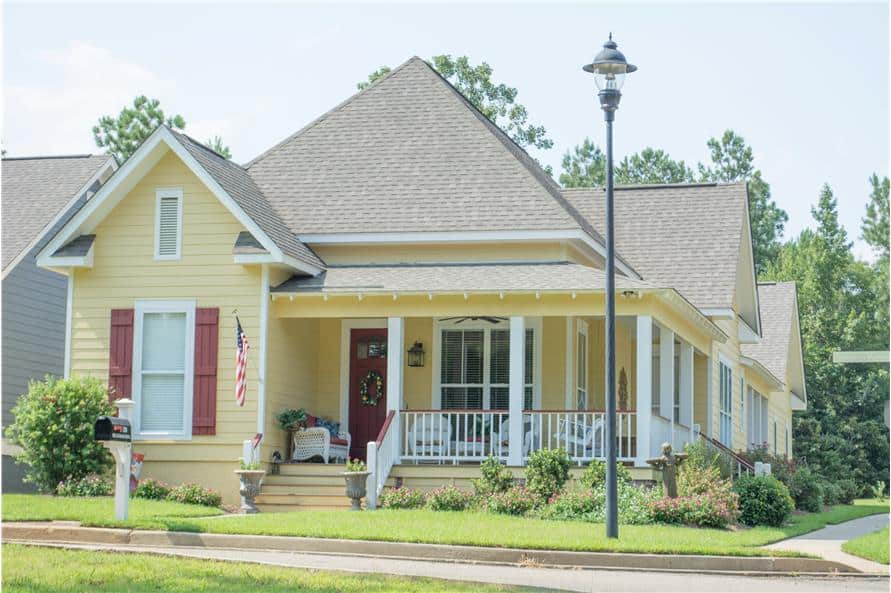 Single-Story Cottage Style 3-Bedroom Home for a Narrow Lot with Wraparound Porch
