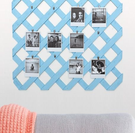 Photo frame for collage made from lattice fencing