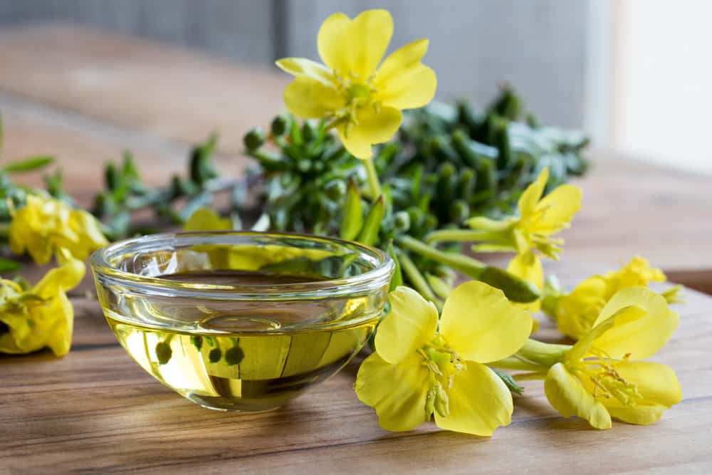 Small bowl of evening primrose oil sitting on a wooden table next to cut flowers of evening primrose