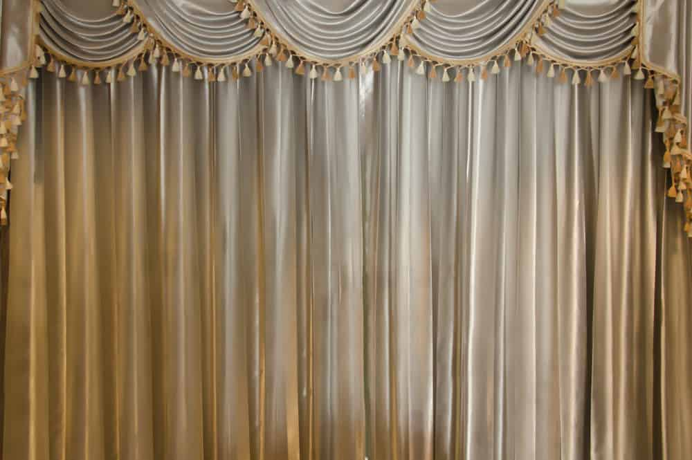 This is a close look at the valance curtains with metallic tone.