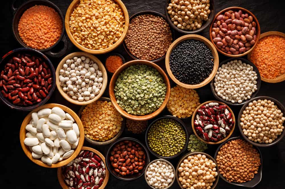 These are bowls of various beans and lentils.