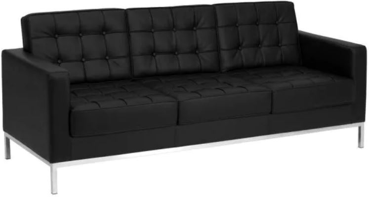 This is the Carnegy Avenue 80 in Black Faux Leather 3-Seater Bridgewater Sofa from Home Depot.
