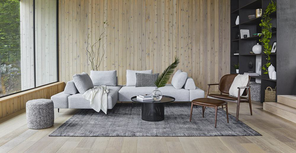 This is a mist gray left sectional divan from Article.